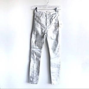 MOTHER High Waisted Looker Ankle Silver Jeans
